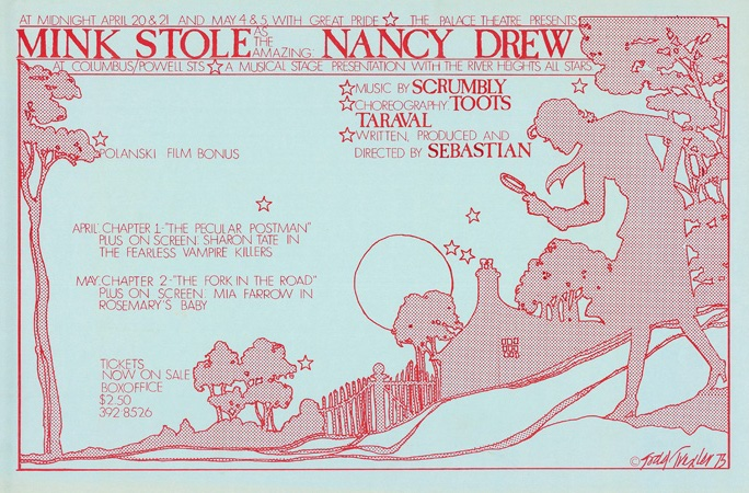 #32 - Palace Theater – on stage Mink Stole as Nancy Drew – Music by Scrumbly, written and directed by Sebastian April,1973
